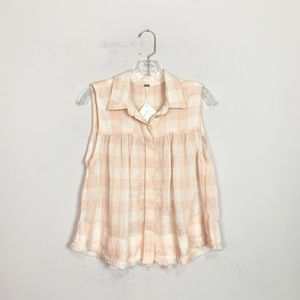 Free People | plaid collared tank top pink size XS